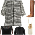 5 pieces 1 outfit :: black leather bag